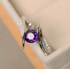 XWYT2405 gift  Natural Amethyst  1.20ct  US 7 14K White Gold ring