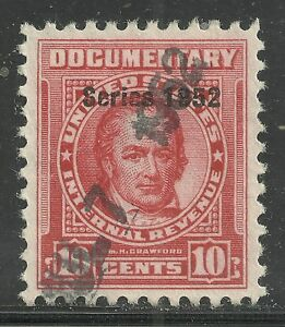 U.S. Revenue Documentary stamp scott r592 - 10 cent issue of 1952 - #3