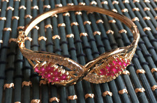 18K Gold GP Red Ruby Gemstone Woman Fashion Wedding Bangle Bracelet 002