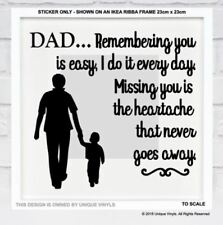 Dad, Remembering you is Easy - Memorial sticker for IKEA RIBBA BOX FRAME - Vinyl