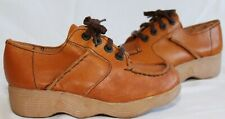 New listing Vtg 70's Famolare Get There Wave Sole Brown Leather Platform Shoes Women's 2N