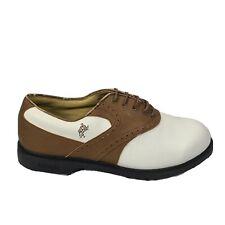 New listing Ashworth Mens Kingston White Tan Brown Bordeaux Golf Shoes 81221 Size 10.5