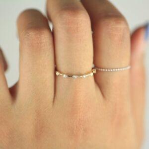 6 Natural Diamond Wedding Engagement Stacking Ring Band Minimalist Style