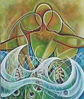 JaviMart Fish Bait Acrylic on Canvas 24X20 Cuban Art Original Painting 2014