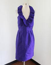 Lula Kate Royal Purple Silk Ruffle Tie Halter Cocktail Evening Dress Sz 6 Party