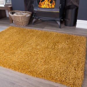 Affordable Nordic Ochre Mustard Shaggy Thick Living Room Rug 120x170cm