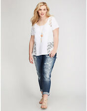 Lane Bryant 26/28 White Crochet Lace Side Panel Tee ~ Short Sleeve Top 26W 28W