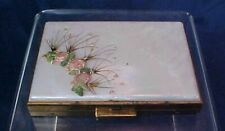 Vintage Rectangular Compact Zell Fifth Avenue Mother Of Pearl Top Flowers