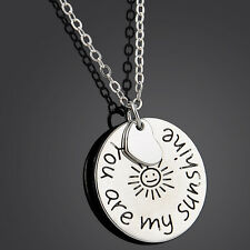 Family Members English Proverbs Love Letter Sliver Charm Chain Pendant Necklaces