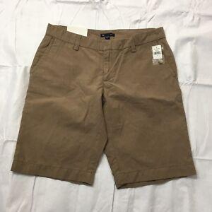 Gap Straight Fit Chino Bermuda Shorts Women's Size 6 Khaki Pinstripe Cotton NWT
