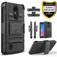 For LG Rebel 4 LTE & Fortune 2 Phone Case, Belt Clip +Tempered Glass Protector