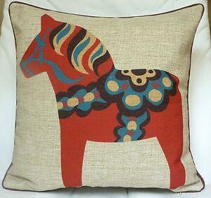 "New Modern print Linen look fabric 17"" X 17"" pony horse cushion cover"