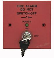 Red Fire Alarm Spur 230v Mains Isolator Key Switch Fused to BS5839