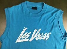 Vintage Mens 80s Las Vegas Sin City Sleeveless Teal Touch of Gold T-Shirt L