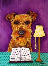 Irish Terrier dog art Print poster gift modern folk library reading 11x14