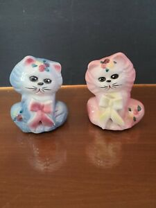 Vintage Japan Cat Salt and Pepper Shakers Ben Blue & Pinky Marie with Bows