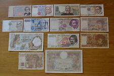 LOTTO 13 BANCONOTE ITALIA FRANCIA 10 20 100 FRANCS 1000 10000 50000 100000 LIRE