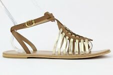 Diba Women's Brown/Gold Leather Fire Sky Ankle Strap Sandal Size 10