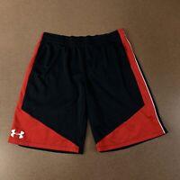 Under Armour Heat Gear Loose Boys Youth XL Black Red Athletic Elastic Shorts