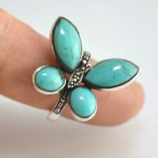 Turquoise Butterfly Ring Design Marcasite Stones All Sterling Silver # 9