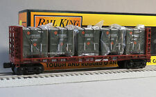 MTH RAILKING NS BULKHEAD FLATCAR LCL CONTAINERS o gauge train U.S. ARMY 30-76605