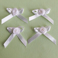 "40 Satin Ribbon Flower Rose & Bow 1.5"" Sewing Trim Wedding Favor Craft White"