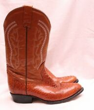 Grano De Oro Snakeskin Brown Leather Pull On Western Cowboy Boot Men's U.S. 9D