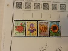 Lot of 4 Libya Stamps, Flowers from 1965 Mint, Never Hinged