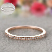 925 Silver Rings Sz 6-10 Stackable Eternity Rose Gold Promise Plated Wedding
