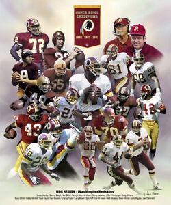 Washington Redskins HOG HEAVEN 3 Super Bowls 20 Legends Premium 20x24 Art POSTER