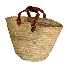 French Market Shopping Basket Bag Leather Plait Trim Carry Bag Storage Home Work