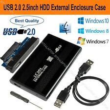 "2.5"" SATA to USB 2.0 Hard Drive Enclosure Caddy HDD Case For Windows & Mac Black"