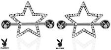 Playboy Bunny with Paved Gems Star 316L Surgical Steel Nipple Bar Ring Shield