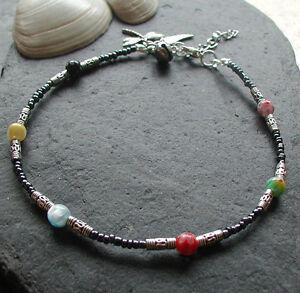Millefiore Flower Beads Charm Cluster Anklet Ankle Bracelet Festival Hippy Boho