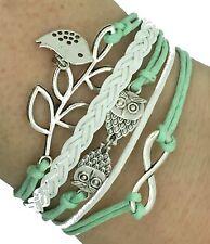 Vintage handgemachte Infinity Silber 8 Owl Blatt Vogel Armband Lederarmband