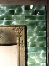 Complete Set Vintage Victorian Antique Fireplace Tiles Set Mantle Hearth Green