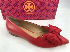 7fc6e9caa215 Tory Burch Eleanor Flats Brilliant Red Size 5 Leather Suede Bow Shoes NEW