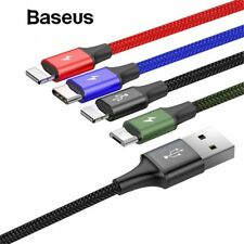 Baseus 4 in 1 Type C Micro USB 3.5A Fast Charging Data Cable For iPhone X 8 7 11