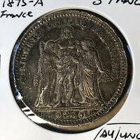 1875-A France 5 Francs Silver Coin AU/UNC Condition