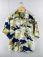 Adonis Men's Vintage Short Sleeve Beach Hawaiian Shirt Size 43 Green Blue