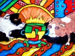 ACEO GUINEA PIG Drinking Coffee KSams Cavy art abstract 2.5 x 3.5 PRINT