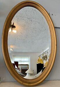 Antique Vintage Wooden  Gold Gilt Mirror - Oval , Bevelled 73cn By 45cm