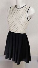 TFNC diamante' embellished Ivory lace high neck black skirt Mini skater dress 8