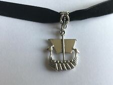 Viking Nave Vela Barca Velluto Nero Collana Girocollo regolabili Borsa Regalo 10 mm