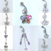 Choose Color 1.6mm 14g Gold Belly Ring Dangle Clear Navel Curve Bar