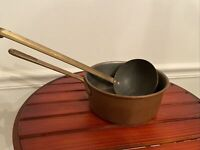 Antique Heavy Cooper Cooking Pot W/ Brass Handle& Copper Ladle
