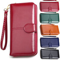 Womens Leather Wallets Long Zip Bag Purse Phone Card Holder Case Clutch Handbags