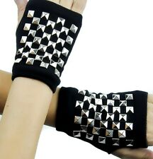 Checkered Silver Pyramid Stud Fingerless Gloves Goth Punk Emo Alternative Grunge