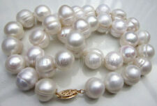 Big!13-15MM SOUTH SEA WHITE BAROQUE PEARL NECKLACE 18 INCH