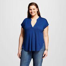 Almost Famous Women's Split Neck Lace Back Blouse Blue Plus 1X